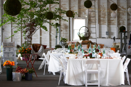 Dining tables set for an eco-friendly wedding