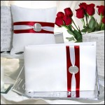 Personally Yours Guest Book, Pen & Pillow Set with red accents
