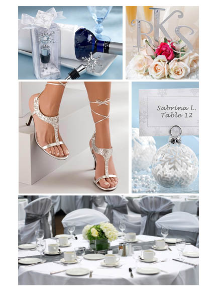 Winter wedding collage with silver accents