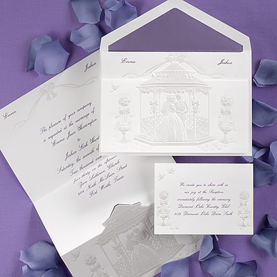 violet and pearl wedding invitations