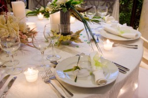 Ivory and Green Reception Tables