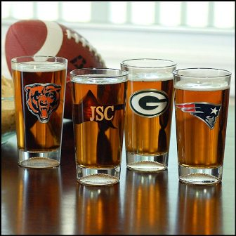 NFL Engraved Pint Glasses - Packers or Steelers for SuperBowl XLV?
