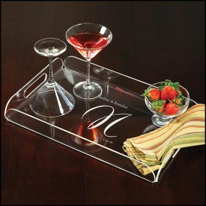 The Elegance Personalized Serving Tray makes an excellent engagement gift.